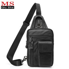 MS.QIUSHA Genuine Leather bag Men Chest Pack men Messenger Bags Small Men Chest Bag High Quality Male Shoulder Bags Casual brand #Affiliate
