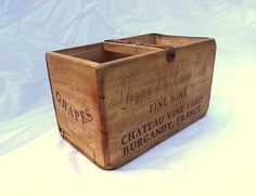 Vintage antiqued wooden box, crate, trug, French Wine | eBay