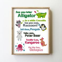 See you latter alligator cross stitch nursery baby kids funny penguin kangaroo octopus raccoon - Cro Baby Cross Stitch Patterns, Cross Stitch Charts, Cross Stitch Embroidery, Embroidery Patterns, See You Later Alligator, Baby Room Themes, Simple Cross Stitch, Funny Penguin, Octopus