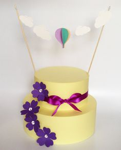 Cake topper with hot air balloon and clouds cake by StefysSeasons