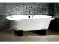 A contemporary redux of the clawfoot tub.  The lines are clean and fresh.  I would substitute out the polished fixtures for burnished stainless steel though.  Would work well in a guest room bath.