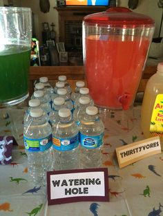 Watering Hole- Water Bottle Station. Dinosaur Party - Jurassic World (kids water party ideas)
