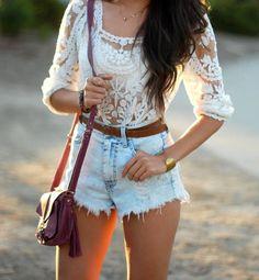 Lace + High waisted shorts