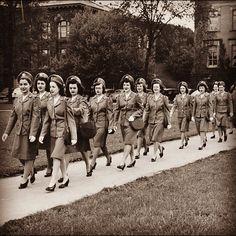 Cadet nurses march to Hendricks Chapel to celebrate the opening of the new nursing school, Syracuse University, 1945