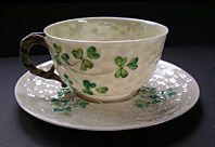 BELLEEK POTTERY IRISH SHAMROCK PATTERN TEA CUP AND SAUCER SET SECOND BLACK MARK C.1891-1926