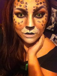 Halloween cat makeup leopard print