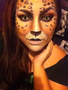 Halloween cat makeup leopard print