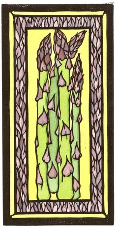 Asparagus - Sivertson Gallery - Sarah Angst Fine Artist & Printmaker www.sarahangst.com - nature, objects, just for fun designs, and more. Bright and Bold original art & prints created in Bozeman, Montana. Block Prints & Watercolor.