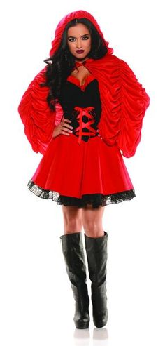 Description Red Riding Hood costume features a mini dress and a red hooded cape Red and black dress with a lace up corset bodice Black lace trim around the hem Short pleated red cape with attached hood Black boots sold separately Sizes: S, M, L, XL Sexy Halloween Costumes, Cute Costumes, Halloween Fashion, Adult Costumes, Costumes For Women, Halloween Ideas, Costume Ideas, Awesome Costumes, Halloween 2016