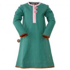 4 Funky Flavours jurk, groen 'Check On It' - Kinderkleding Zazou een toppertje van de nieuwe wintercollectie