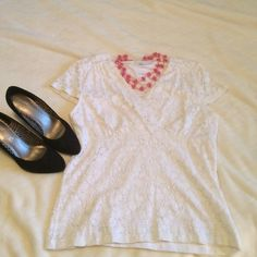 Charter Club lace v neck top Charter Club lace v neck top.  Cute for summer! Charter Club Tops Blouses