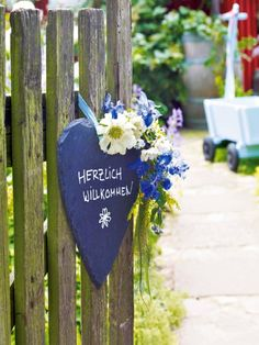 Lovely welcoming sign with flowers on an open gate! Deer Fence, Bamboo Fence, Best Sheet Sets, Wood Fence Post, Metal Fence Panels, Garden Gates And Fencing, Swedish Cottage, Wrought Iron Fences, Aluminum Fence