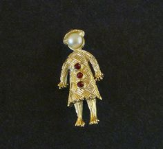 Vintage Asian Lady Figural Pin Brooch by MaisonChantalMichael