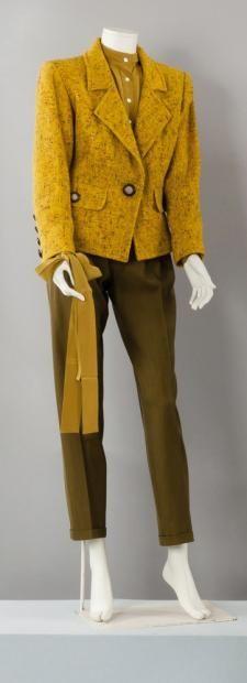 Yves SAINT LAURENT rive gauche circa 1989 Veste tailleur en tweed jaune