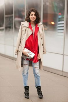 50 Street-Style Snaps From NYFW. beautiful isabel marant booties and burberry trench in practical use.