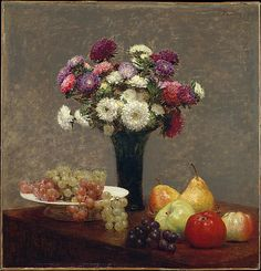 Asters and Fruit on a Table   Henri Fantin-Latour (French, Grenoble 1836–1904 Buré)