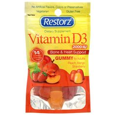 Bone strength and heart support delivered through delicious gummies. These tasty gluten-free gummy supplements provide 2000 IU of Vitamin D3, and each pack contains an assortment of peach, mango, and