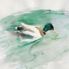 Art print Duck in the Pond, print of watercolor painting, nature, teal green and brown, calm, nursery decor, birds art, bird art