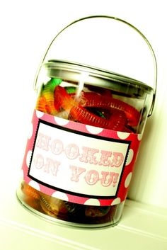 Valentine's Hooked on You Pails - cute idea for boys!