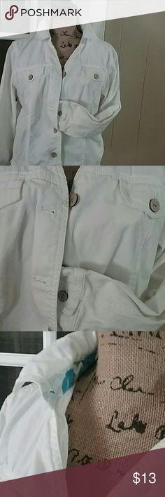 """White cotton jacket White.  Great condition. Wooden button. 2 fake chest pockets . Armpit  to armpit  21""""..length 22"""". Fits like 12- 14.   So versatile classic elements Jackets & Coats"""