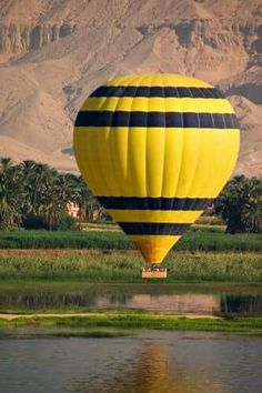 Hot air balloon over the nile at Luxor, Egypt