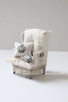 Dollhouse Miniature Shabby Chic Lace Upholstered Chair 1/12 Scale by cinderellamoments on Etsy