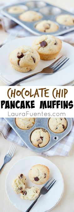 These chocolate chip pancake muffins are easy to make, fluffy and moist. Plus, they can be made with traditional or gluten-free flour.