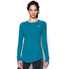 Under Armour Women's UA Sunblock 50 Long Sleeve ($50) ❤ liked on Polyvore featuring activewear, activewear tops, aqua blue, under armour sportswear and under armour