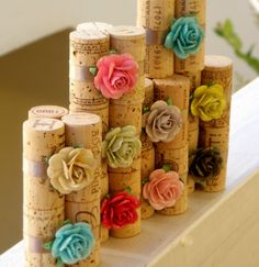 Sparkling Garden Place Card Holders - Set of 10 Repurposed Wine Corks for Wedding Reception or Bridal Shower. $30.00, via Etsy.