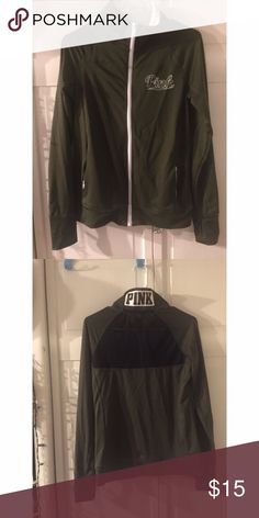 Olive Green Express sporty jacket Olive green jacket with white writing and mesh details on back. Perfect for working out or just looking like your about to! Sweaters