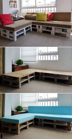 DIY Sofa With Built-In Storage Made Of 6 Pallets