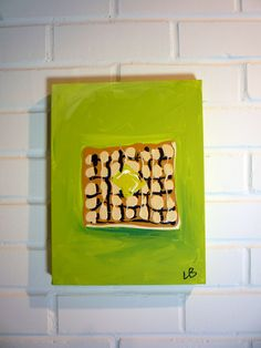 Waffle Blob Small Painting on Canvas 9x12 by LoganBerard on Etsy