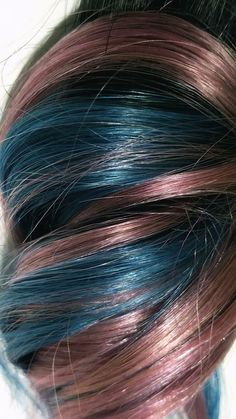 9d93490fd759c Clip in Human Hair Extensions Pastel Pink Aqua Turquoise Blue Ombre Streaks  1B Natural Black Root