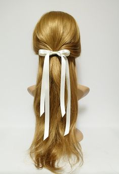 Very long narrow tail black cream satin bow hair tie ponytail holder comb for women Natural Hair Accessories, Hair Accessories For Women, Natural Hair Styles, Short Hair Styles, Ribbon Hair Bows, Diy Hair Bows, Ribbon Flower, Fabric Flowers, French Hair