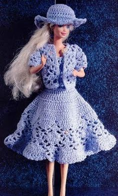 Miss Barbie elegant in blue with diagram - vestido para barbie | labores de esther.