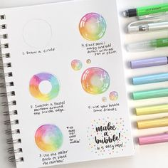 Hey friends, it's here! I always associate bubbles with spring. Using Small Water Brush and Dual Brush Pen colors… Water Brush Pen, Brush Pen Art, Watercolor Brush Pen, Tombow Dual Brush Pen, Bullet Journal Ideas Pages, Bullet Journal Inspiration, Bubble Drawing, Brush Pen Calligraphy, Tombow Markers