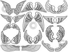 Illustration about Twelve Sets of Black and White Angel Wings. Illustration of angelic, silhouette, winged - 5318748 Tattoo Girls, Girl Neck Tattoos, Bad Tattoos, Trendy Tattoos, Celtic Tattoos, Tattoos For Women, Tattoo Mom, Tattoo Neck, Wrist Tattoos