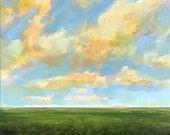 Landscape Painting CUSTOM Modern Abstract Sky Cloud FIeld by J Shears. $110.00, via Etsy.