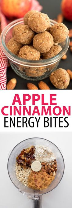 These no-bake energy bites are easy to make and a great healthy snack! The apple Cinnamon Energy Balls are made with just a few ingredients: dates, apple, cinnamon, honey, oatmeal, almonds, and protein powder. You could even call them protein balls! Just 60 calories each.