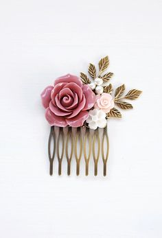 Dusty Pink Wedding Hair Comb Powder Pink Bridal Hair Comb Bridesmaids Hair Accessory Flower Girl Gift Pink Rose Hair Comb French Country by LeChaim on Etsy https://www.etsy.com/listing/233357866/dusty-pink-wedding-hair-comb-powder-pink