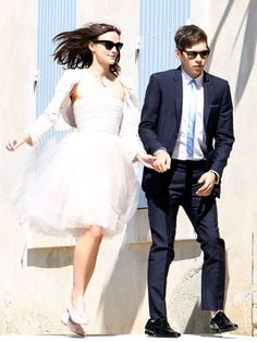Keira Knightley wears a simple knee-length dress for her wedding to James Righton in the South of France. Read the feature http://on.elleuk.com/10kRMVt