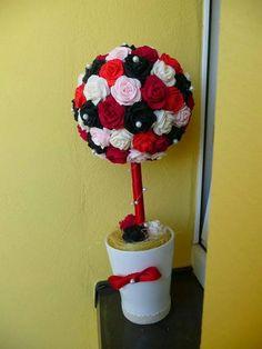 Drzewko z róż z krepiny, piękna dekoracja okna <3   Rosewood tree to your window <3
