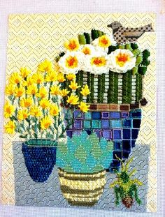 laura taylor stitch guide, melissa shirley cactus needlepoint canvas