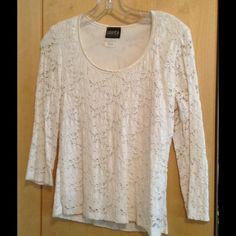Pretty white lace top (lined) Pretty white stretchy lace top - perfectly goes with most anything Baranda Tops