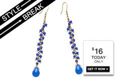 #STYLE #BREAK! Get the Isette Cobalt #Earrings for $16. #Today #only! The Candy Coated Jewelry Boutique, visit us TODAY