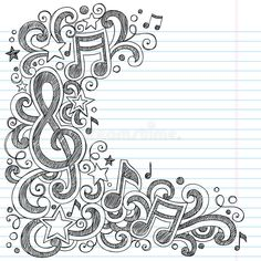 Music Notes and G Clef Sketchy Music Class Doodles. Vector Illustration on LIned , doodles Music Notes And G Clef Sketchy Music Class Doodles Stock Vector - Illustration of audio, heart: 27560173 Notebook Doodles, Note Doodles, Doodle Art Journals, Drawing Hands, Doodle Art Drawing, Drawing Ideas, Music Drawings, Easy Drawings, Easy Sketches