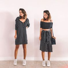 do this with white and blue striped dress Diy Fashion, Ideias Fashion, Fashion Looks, Fashion Outfits, Womens Fashion, Trendy Outfits, Summer Outfits, Cute Outfits, Thrift Store Outfits