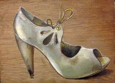 Shoe painting on wood panel. Original oil by StudioJulietteB Shoe Painting, Painting On Wood, Shoe Art, Painted Shoes, Wood Paneling, In This World, Stiletto Heels, Shoe Boots, Kicks