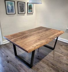 One of our signature Ambrosia maple dining  tables.  This is a live edge version that we did with a medium brown stain and satin clear coat.  For this one we used our satin black trapezoid legs for a touch of added style.  Contact us in Hamilton or Toronto to have us make you a custom dining or conference table for your home or business.  Tag someone who needs a custom table!  #diningtable #boardroomtable  #barnboard #barnwood #barn #reclaimed #reclaimedwood #rustic #rusticwood #igers…