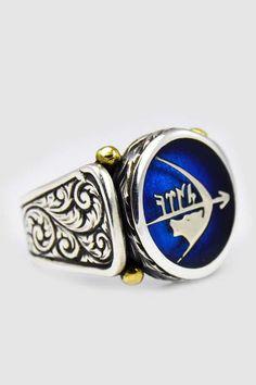Göktürkçe Türk Yazılı Göktürk Kurdu ve Göktürk Yayı Gümüş Erkek Yüzük